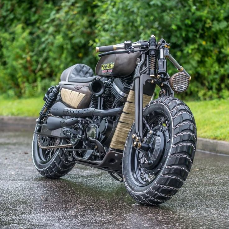 """caferacersofinstagram: """" A Mad Max inspired Harley Sportster built by @shawspeed. Those chained tires! Thanks for the share, fantastic build. #croig #caferacersofinstagram """" Caffeinated by the dark..."""