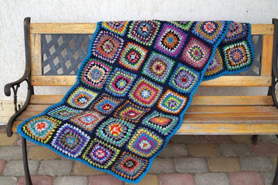 Colorful  Afgan 61 cm x 150 cm Crocheted Blanket by vintagdesign