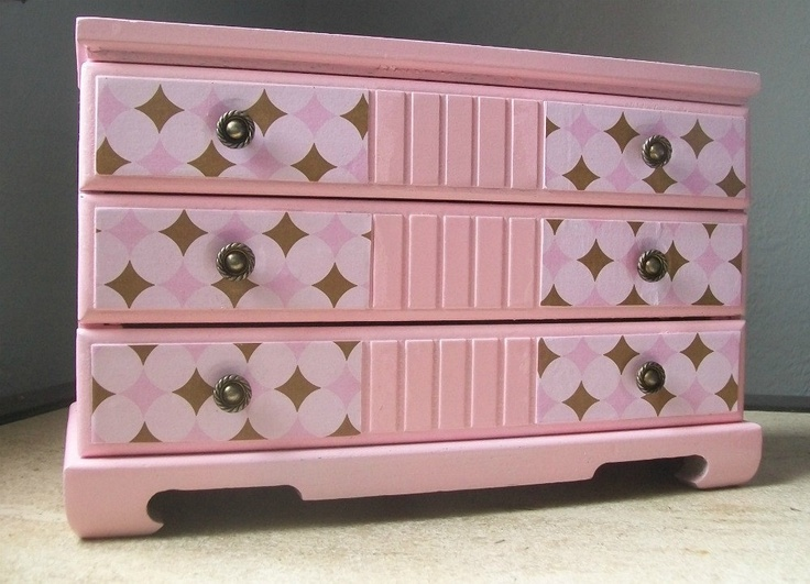 SALE - Upcycled Vintage Jewelry Box - Pink & Brown Diamonds - Was 45.00 now 39.50. $39.50, via Etsy.