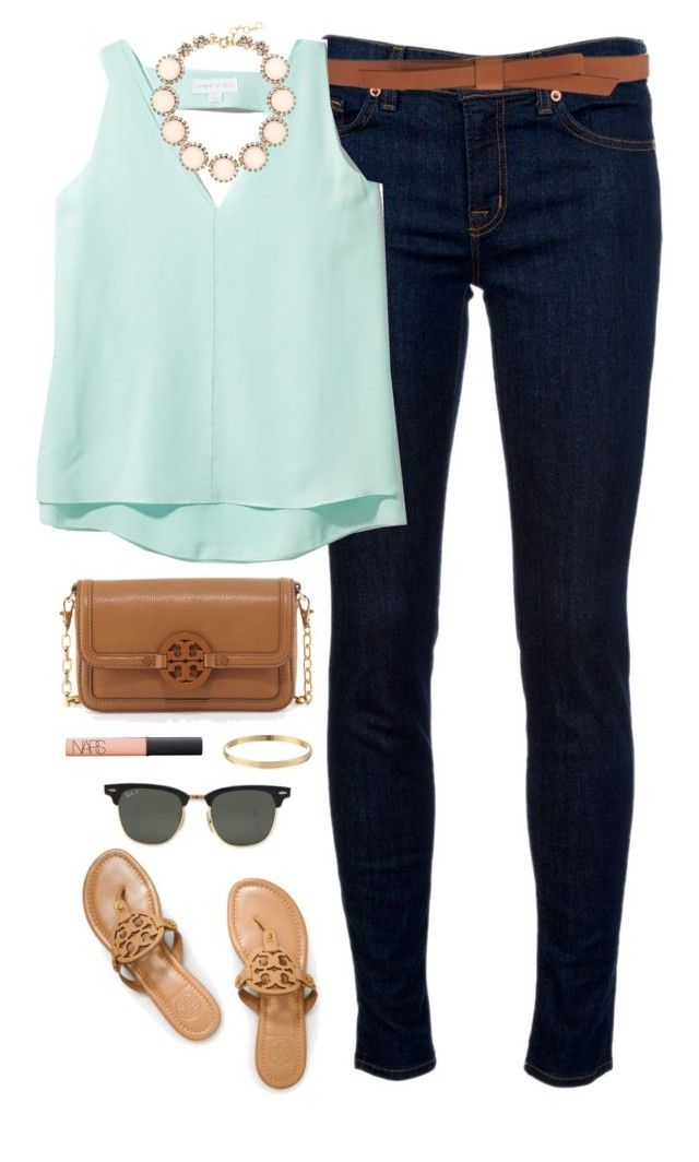 """""""minty"""" by classically-preppy ❤ liked on Polyvore featuring J Brand, Ganni, Cooper & Ella, Tory Burch, Kate Spade, Ray-Ban, NARS Cosmetics, J.Crew, women's clothing and women"""