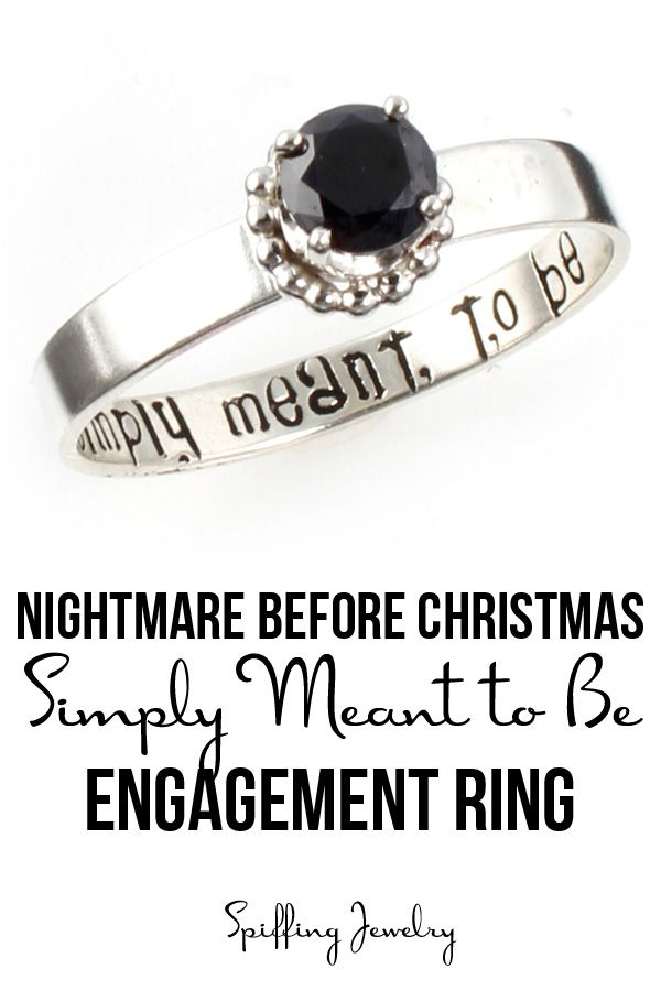 """Inspired by the Nightmare Before Christmas, this black stone engagement ring reads """"simply meant to be"""" inside. Each ring is handmade to order in sterling silver, by Spiffing Jewelry."""