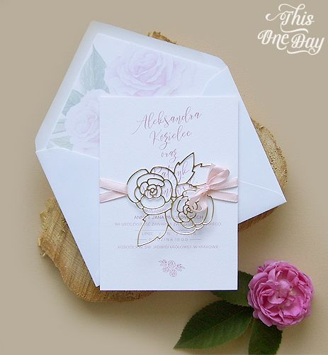 Blush pink and gold wedding invitation. Różowo-złote zaproszenia ślubne.
