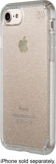 Speck - Presidio clear + glitter Case for Apple® iPhone® 7 - Clear/Clear with gold glitter - Front Zoom