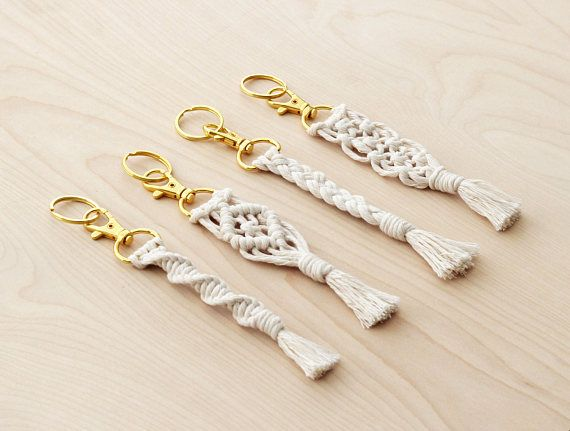 White Cotton Cord Macrame Keychain with Gold Swivel Snap Hook