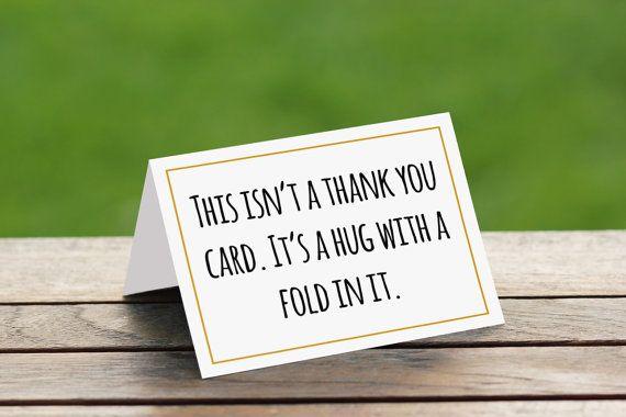 This Isn't A Thank You Card. It's A Hug With A Fold In It   Cute Thank you Card   Funny Thank You Card   Thank You Card Wedding
