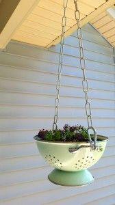 DIY - No Strain to Hang- Vintage Colander Planter