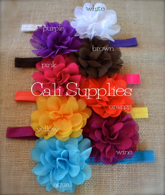 DIY baby headbands     Chiffon Flowers  Wholesale Hair Accessories Flower by calisupplies, $8.50