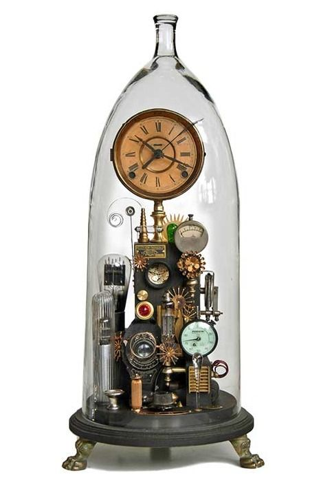 by Roger Wood....#cloche #assemblage....#clock