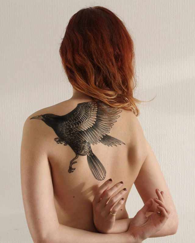 Healed Crow from my time @mauditcaillou, Toulouse, France. Thank you for the photos Audrey.  If you have been tattooed by me I always love seeing my work being worn so please send healed photos.