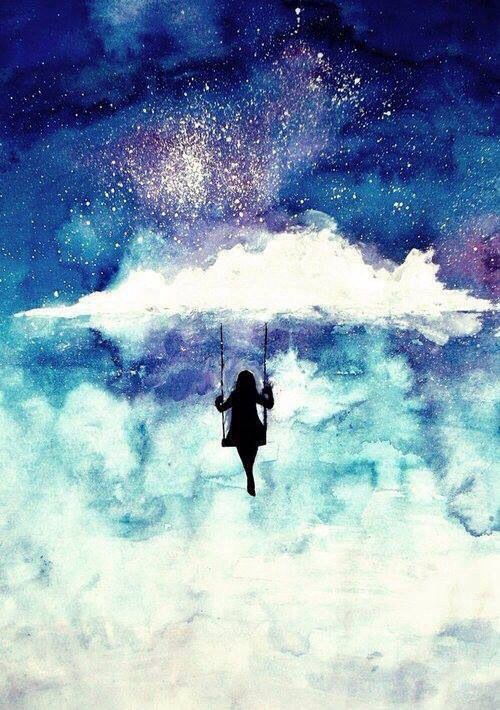 Girl swings on the clouds- I would like this better if the black was a blue or dark blue, the black is too stark