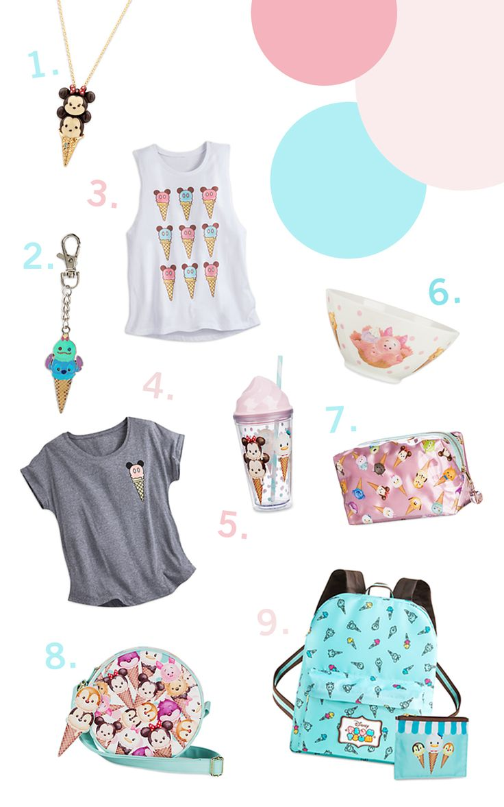 Ice Cream Tsum Tsum clothing + accessories | Celebrate National Ice Cream Day in Disney Style | [ https://style.disney.com/fashion/2016/07/17/how-to-celebrate-national-ice-cream-day-in-disney-style/ ]