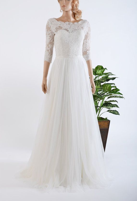 Hey, I found this really awesome Etsy listing at https://www.etsy.com/listing/233787000/lace-wedding-dress-with-34-sleeve-lace