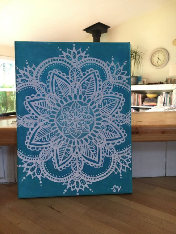 All canvases are entirely hand crafted, therefore each one is slightly unique. **Like the design but dont like turquoise? PLEASE contact me & request a different color! I am very open to altering designs to your liking. Just be sure to message me BEFORE ordering!** Turquoise Mandala 9x12 Canvas Acrylic Paint