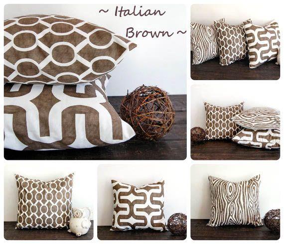 Italian Brown throw pillow cover 20 x 20 ONE cushion cover Italian Brown and white pillow sham via Etsy