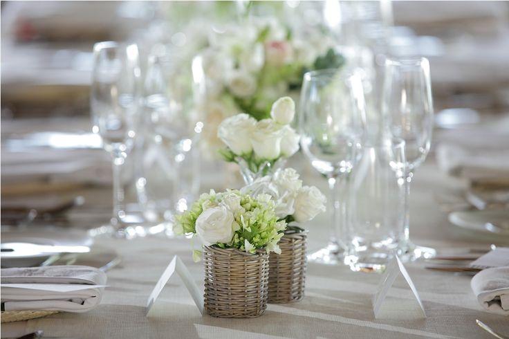 White Lisianthus & Rose and Ornithogalum-mini bouquet on the table by Tirtha Bridal Uluwatu Bali