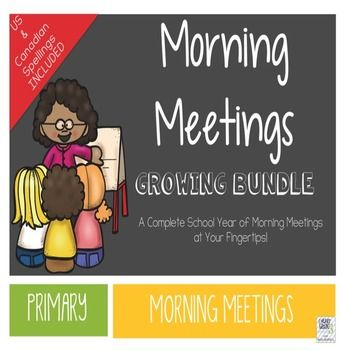 Morning Meetings are a great way to foster a sense of community in your primary classroom.  This year long bundle is the most affordable and effective way to host Morning Meetings in your classroom.  Just print, laminate, and in 15 minutes a day, your students will be collaborating, learning, and having fun first thing in the morning!