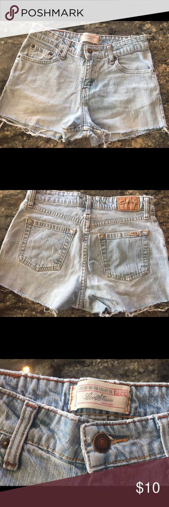 Levi bleached denim cutoff shorts, size 4 Excellent used condition, adorable on! Levi's Shorts Jean Shorts