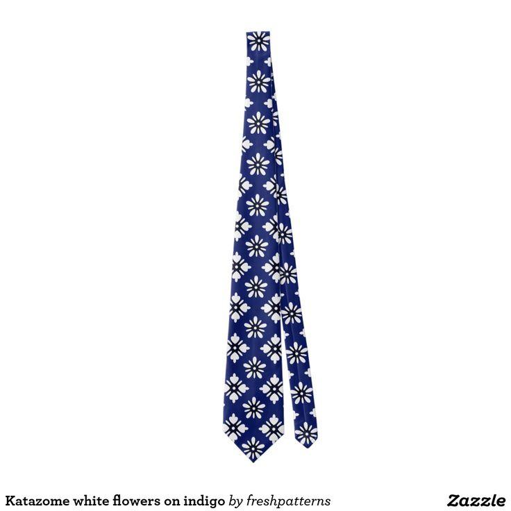 Katazome white flowers on indigo tie