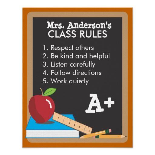 Teachers Class Rules Blackboard Poster