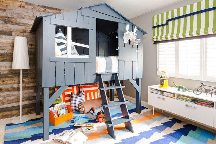 This clubhouse bed! >> Rustic Modern Big Boy Room with Loft Bed