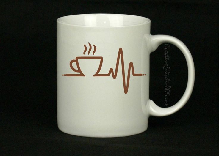 COFFEE HEARTBEAT | Coffee Mug | Cute Coffee Mug | Coffee Cup | Funny Coffee Mugs | Inspirational Quotes on Mugs | SUBLIMATION Design