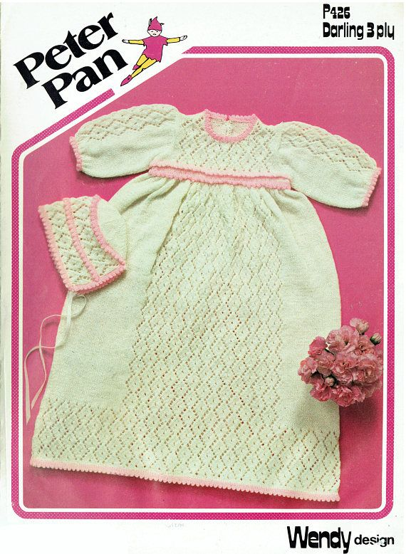 PDF Vintage Baby Girl Christening Dress & Bonnet Knitting