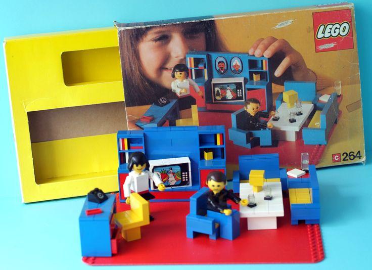 Lego Puppenzimmer No. 264, Anfang 70er Jahre, (enthält eine rare rote Grundplatte)
