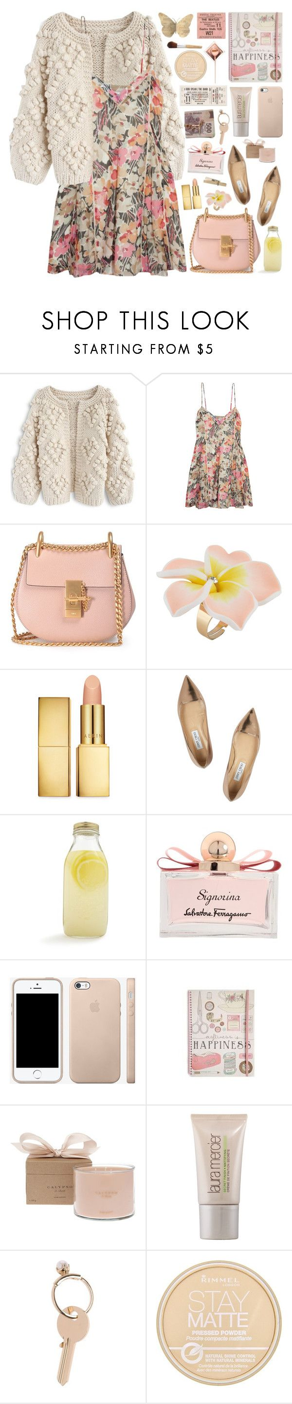 """""""2620. Nothing is going to happen in your comfort zone."""" by chocolatepumma ❤ liked on Polyvore featuring Chicwish, Elizabeth and James, Chloé, ALDO, AERIN, Jimmy Choo, Bormioli Rocco, Salvatore Ferragamo, Calypso Perfume Prod Inc. and Laura Mercier"""