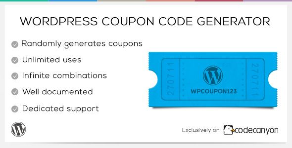 WordPress Coupon Code Generator   http://codecanyon.net/item/wordpress-coupon-code-generator/4580312?ref=damiamio                 This WordPress plugin generates a random string of characters, via a simple shortcode, on a page which would be great as a coupon code, promotional code, voucher code or API key.   The plugin is easily customisable and all generated strings are saved in the database, and viewable via the WordPress Admin area.   High-quality support is included with this plugin…