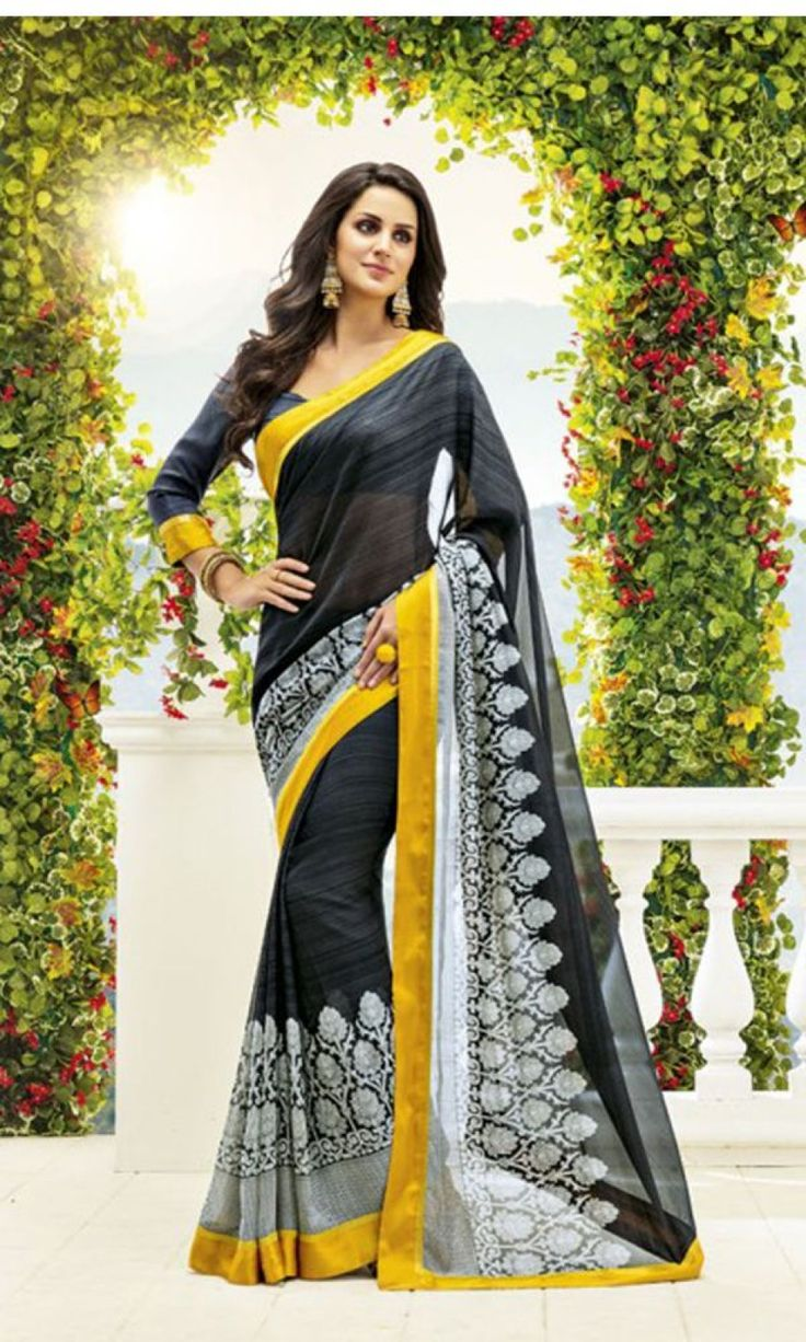Buy best Black and White #PrintedCrapeSaree at ishimaya with traditional pattern.