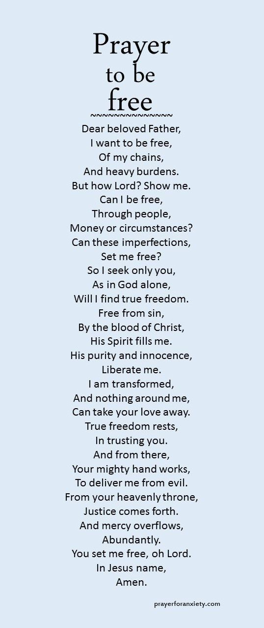 Prayer to be free