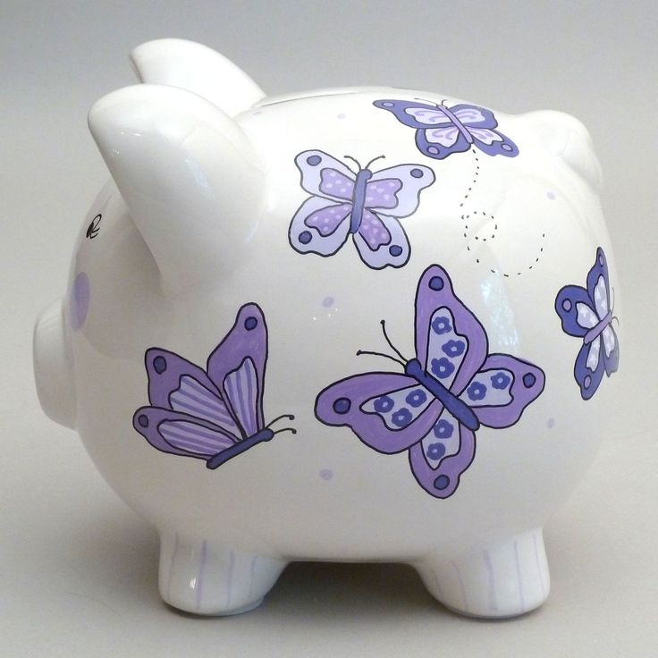 Your gift recipient will be all aflutter when they open this hand painted piggy bank!