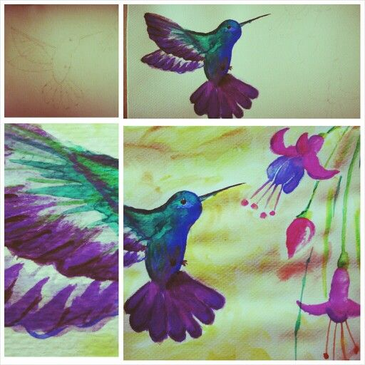 Hummingbird painting created with aquarelle.  A5 size