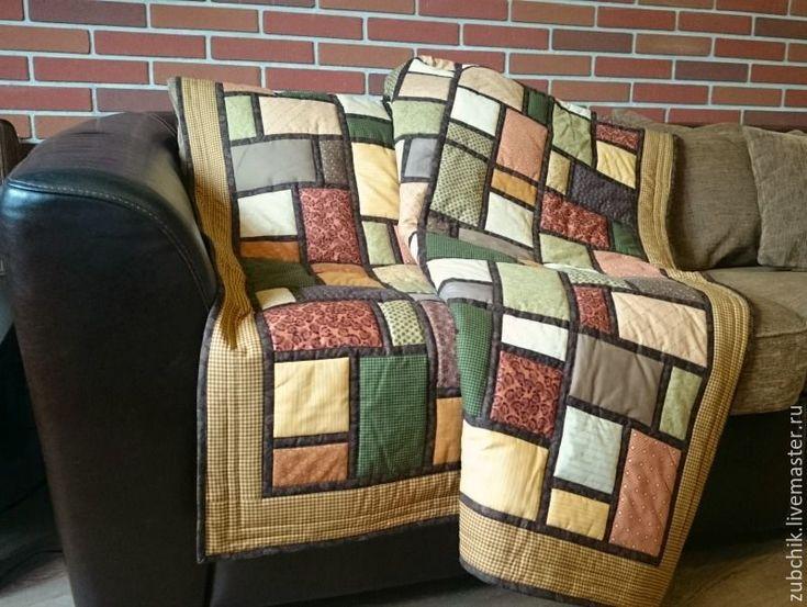 Купить Лоскутное покрывало Дом у озера пэчворк - коричневый, лоскутное одеяло, лоскутное покрывало