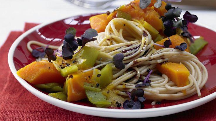 Vollkorn-Spaghetti mit Kürbissauce - Wer denkt bei diesem Anblick noch an Fleisch  
