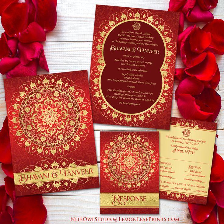 watch wedding invitation movie online eng sub%0A Exotic Far East Wedding Invitation   Rich Red  Ornate FAUX Gold Circle  Medallion   Ganesh