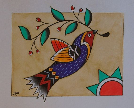 Folk bird with berry branch and sun german folk by BlueBirdFolkArt