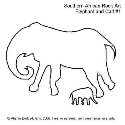 Southern African Rock Art: Elephant and Calf