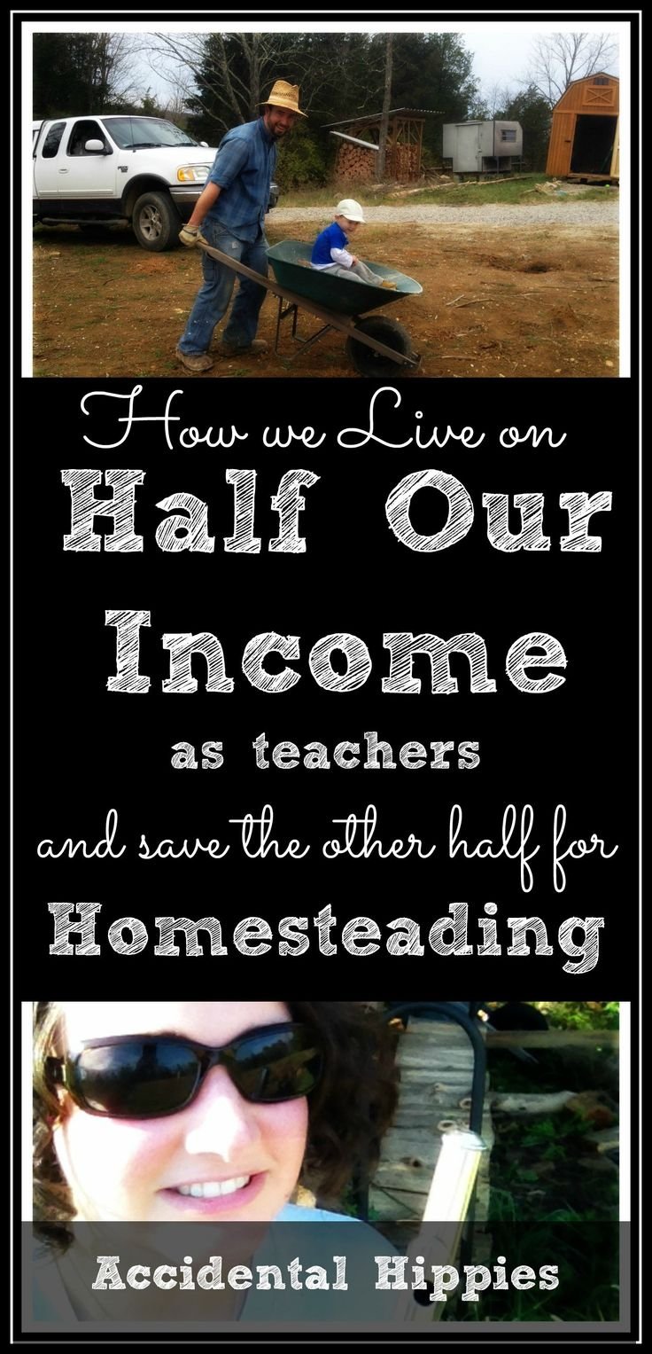 Even on one full-time and one part-time teaching income, we manage to live on HALF of our teaching income and save the other 50% for building our homestead. Think it's impossible to save 50% of your income as a teacher? Check out what we do to save money and get a FREE PRINTABLE to help you budget