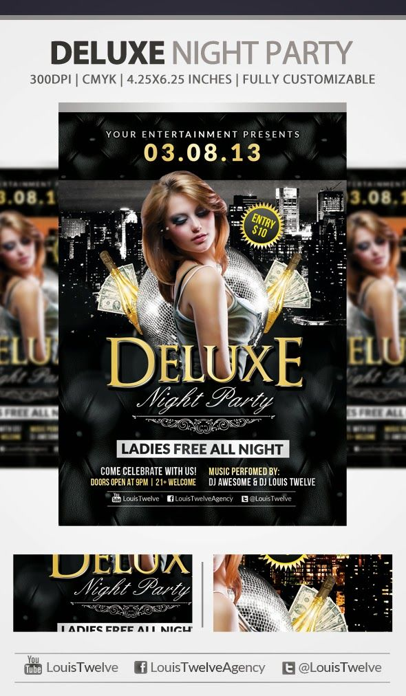 Free Deluxe Night Club PSD Flyer Template – This flyer template was designed to promote your next luxury club night party events.  This print ready free flyer template includes a 300 dpi print ready CMYK file.