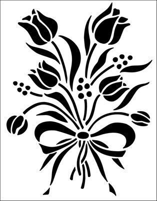 Flower Motif No 3 stencil from The Stencil Library SHAKER range. Buy stencils online. Stencil code 333.