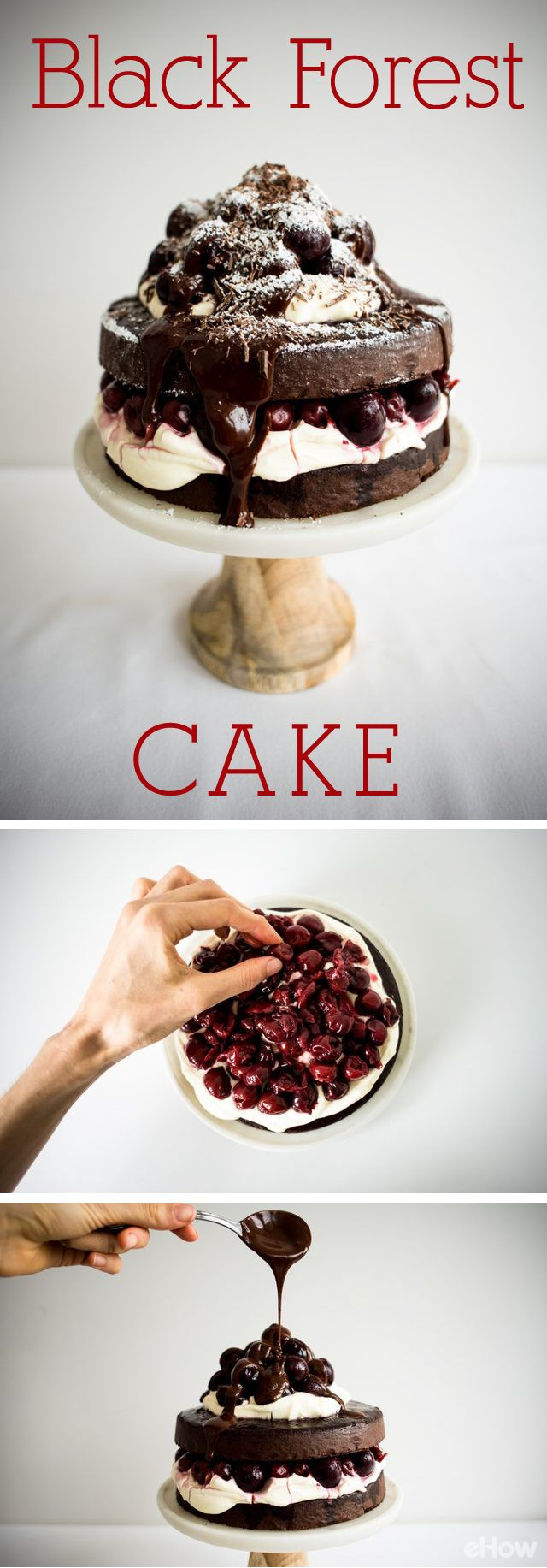 Black forest cake is the perfect combination of cherry and rich dark chocolate! Make this show-stopping cake with this easy to make recipe and how-to instructions: http://www.ehow.com/how_5604753_make-easy-black-forest-cake.html?utm_source=pinterest.com&utm_medium=referral&utm_content=freestyle&utm_campaign=fanpage