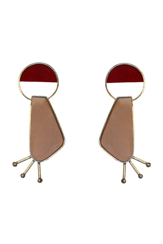 RED AND NUDE EARRINGS - Habey