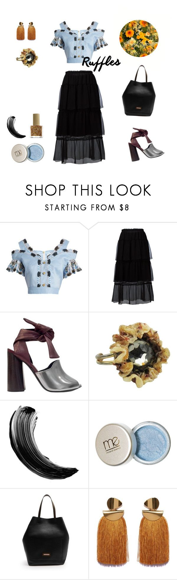 """""""Golden Skies"""" by humbleharpy ❤ liked on Polyvore featuring Peter Pilotto, Sonia Rykiel, 3.1 Phillip Lim, Line Vautrin, Marni, ncLA and ruffledtops"""