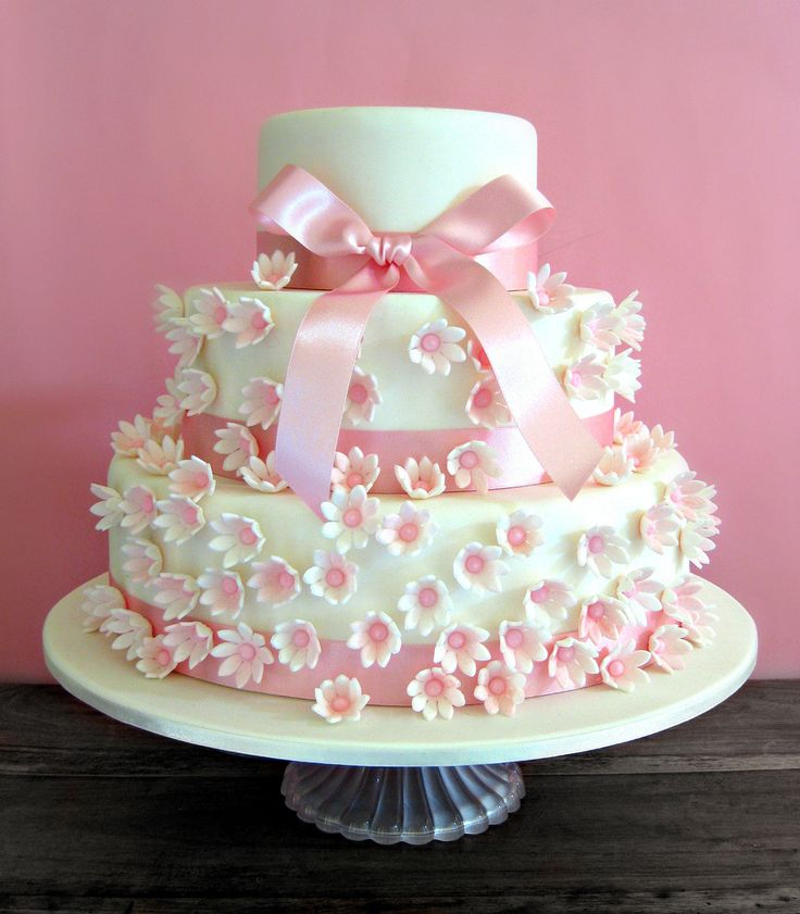 Photos Of Beautiful Birthday Cake : Beautiful White Daisy Cake Decorating Idea With Whiet Pink ...
