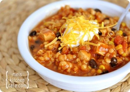 Southwestern Chicken Barley Soup. Delicious! and easy...and cheap...and healthy! What more can you ask for? I recommend garnishing with green onions, cheddar cheese, sour cream, and homemade guac. Simply delicious!