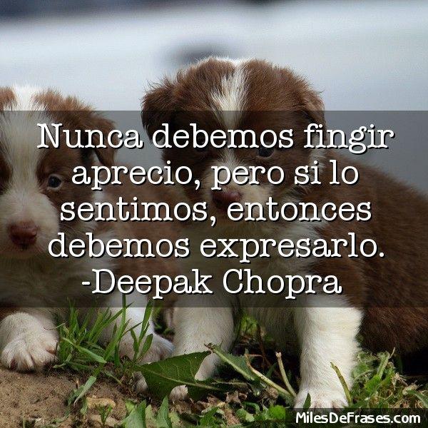 Nunca debemos fingir aprecio pero si lo sentimos entonces debemos expresarlo. -Deepak Chopra
