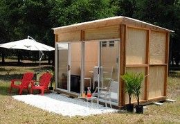 Steps in Converting a Storage Shed Into A Living SpaceIdeas, Small Cabin, Living Spaces, Prefab Studios, Guest House, Sheds, Gardens, Hot Tubs, Glasses Doors