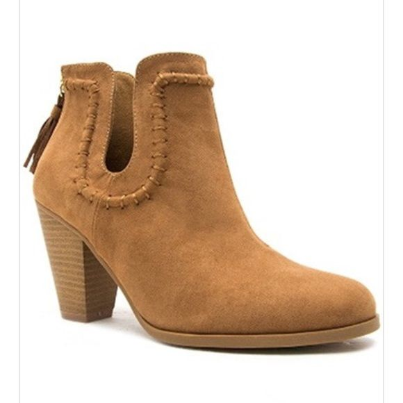 "CAMEL faux sued Ankle booties BOHO SHOW OF THOSE LEGS With these beautiful ankle boots. This style features a suede leatherette upper, cutout detail, tassel accent, block heel, man made lining, pointed toe, zipper closure. Pairs Perfectly with a dress, shorts or jeans! COLOR: CAMEL ❤️Material: Man-made, leatherette ❤️Sole: Synthetic ❤️Measurement: Heel Height: 3.25""   Fitting: True to size, SHIPS SAME DAY OF PURCHASE.  Shoes Ankle Boots & Booties"