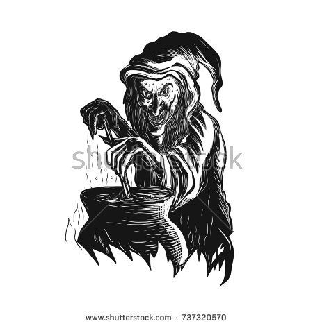 Scratchboard style illustration of a witch or sorcerer stirring magic brew pot practicing Witchcraft or witchery done on scraperboard on isolated background.  #witch #scratchboard #illustration